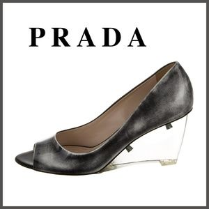 PRADA Silver Patent Leather Peep-Toe Wedges 8.5